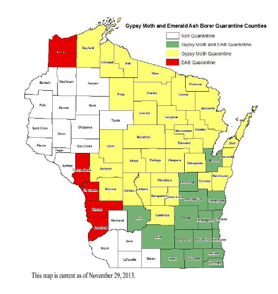 Gypsy Moth and Emerald Ash Borer Quarantine Counties